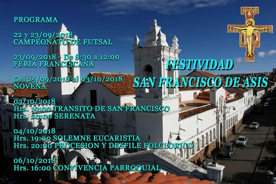 SUCRE – Programa de la Fiesta Patronal de San Francisco de Asís
